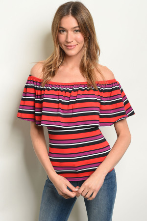C79-B-4-T1825 PURPLE RED STRIPES TOP 1-2-2-1