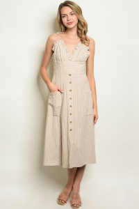 S16-7-2-D1552 CREAM STRIPES DRESS 3-2-1