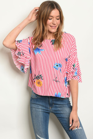 S11-19-4-T15437 FUCHSIA STRIPES WITH FLOWER TOP 2-2-2