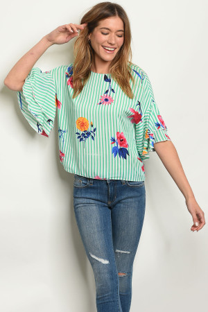 S11-19-4-T15437 GREEN STRIPES WITH FLOWER TOP 2-2-2