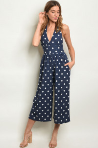 Y-B-J85161 NAVY WHITE WITH DOTS JUMPSUIT 2-2-2