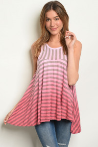 C78-B-7-T8010179 PINK GRAY STRIPES TOP 2-2-2