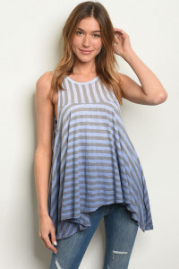 C80-B-6-T8010179 BLUE GRAY STRIPES TOP 2-2-2