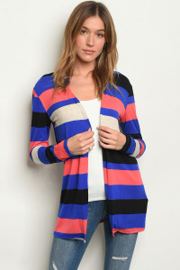 C92-A-1-C2722 ROYAL CORAL STRIPES CARDIGAN 2-3