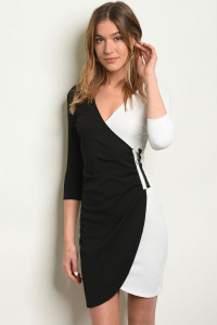 S12-8-2-D7495 BLACK WHITE DRESS 2-2-2