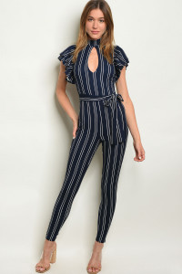 S12-8-2-J3928 NAVY WHITE STRIPES JUMPSUIT 2-2-2