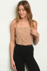 S23-7-1-T31966 TAUPE STRIPES TOP 3-2-1