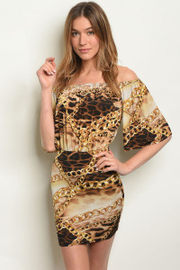 C38-A-7-D7012 TAUPE BROWN WITH CHAIN PRINT DRESS 2-2-2