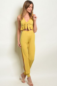 C30-A-6-SET4710 MUSTARD TOP & PANTS SET 2-2-2