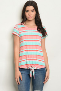 C57-B-7-T0540 MINT CORAL STRIPES TOP 2-2-2