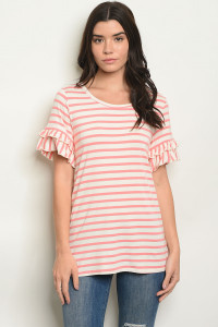 C50-B-7-T0711 CORAL STRIPES TOP 2-2-2