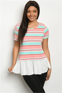C31-B-2-T0789 MINT CORAL STRIPES TOP 2-2-2