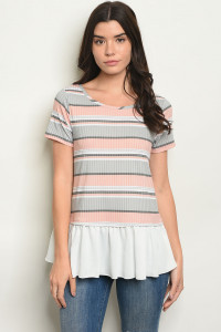 C31-B-5-T0789 GRAY PEACH STRIPES TOP 2-2-2