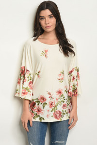 C36-A-1-T0585 IVORY FLORAL TOP 2-2