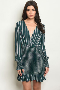 S9-17-5-NA-D5243 GREEN WHITE STRIPES DRESS 3-2-1