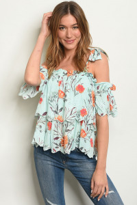 S2-8-3-T2696 MINT W/ FLOWERS PRINT TOP 3-2-1