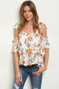 S2-5-4-T2696 IVORY W/ FLOWERS PRINT TOP 3-2-1