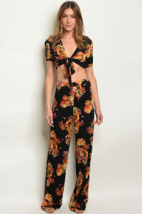 S2-7-3-SET1059 BLACK W/ FLOWERS PRINT TOP & PANTS SET 3-2-1