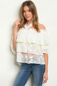 S2-7-2-T2687 OFF WHITE EMBROIDERY TOP 3-2-1
