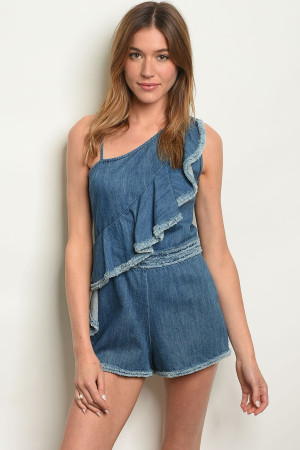 S3-4-3-R1446 BLUE DENIM ROMPER 3-2-1