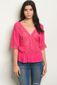 S14-7-1-T49234 FUCHSIA OFF SHOULDER TOP 2-1-1
