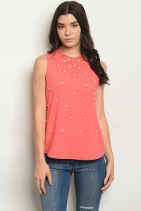 S18-10-5-T81112 CORAL W/ PEARLS PRINT TOP 2-2-2