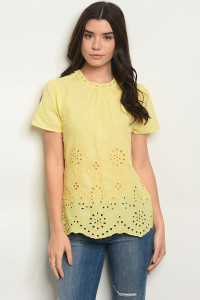 S9-2-4-T25651 YELLOW OFF SHOULDER TOP 2-2-2