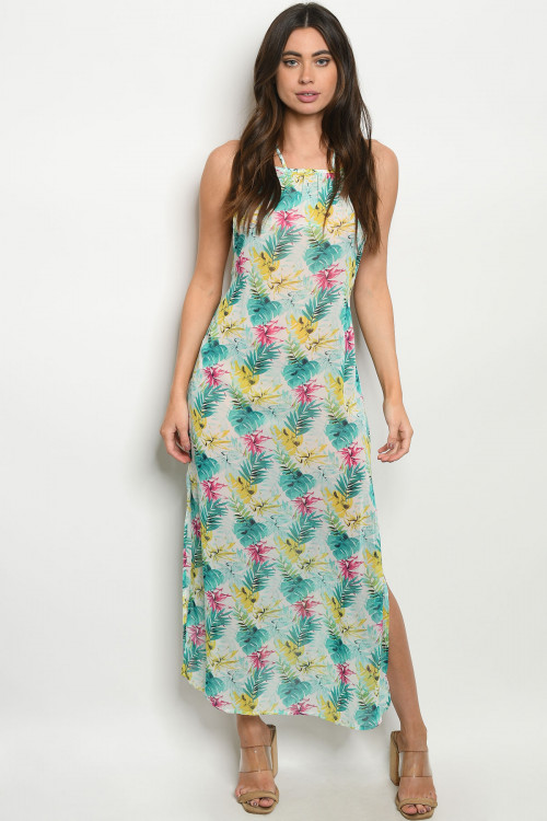 C58-A-1-D8220 MINT WITH LEAVES PRINT DRESS 2-2-2