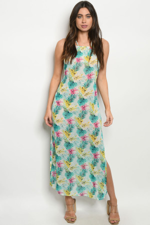C63-A-1-D8220 MINT WITH LEAVES PRINT DRESS 1-3-3
