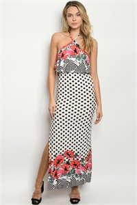 C100-A-1-D9614 OFF WHITE BLACK WITH DOTS DRESS 3-2-3