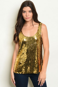 C32-B-3-T3617 GOLD WITH SEQUINS TOP 2-2-2  ***WARNING: California Proposition 65***