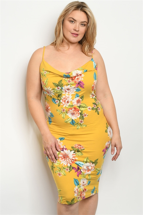 C14-A-4-D1985X MUSTARD FLORAL PLUS SIZE DRESS 2-2-2