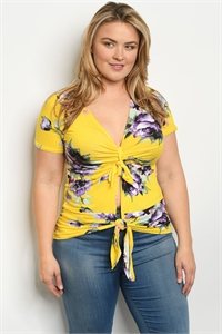 C32-B-1-T1610X YELLOW FLORAL PLUS SIZE TOP 2-2-2