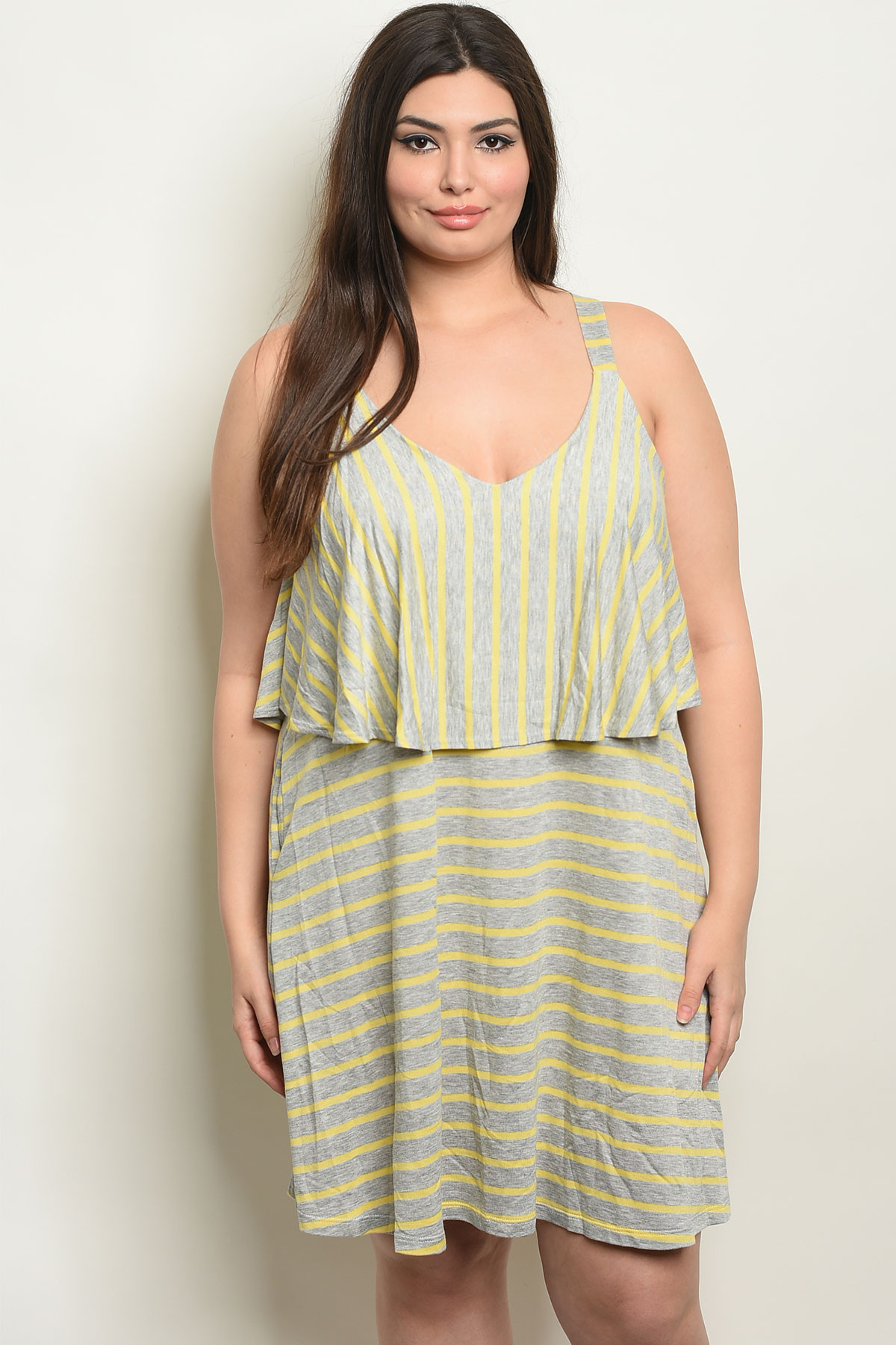 e026be67cf5 C91-A-2-D10555TX GRAY YELLOW STRIPES PLUS SIZE DRESS 2-2-2
