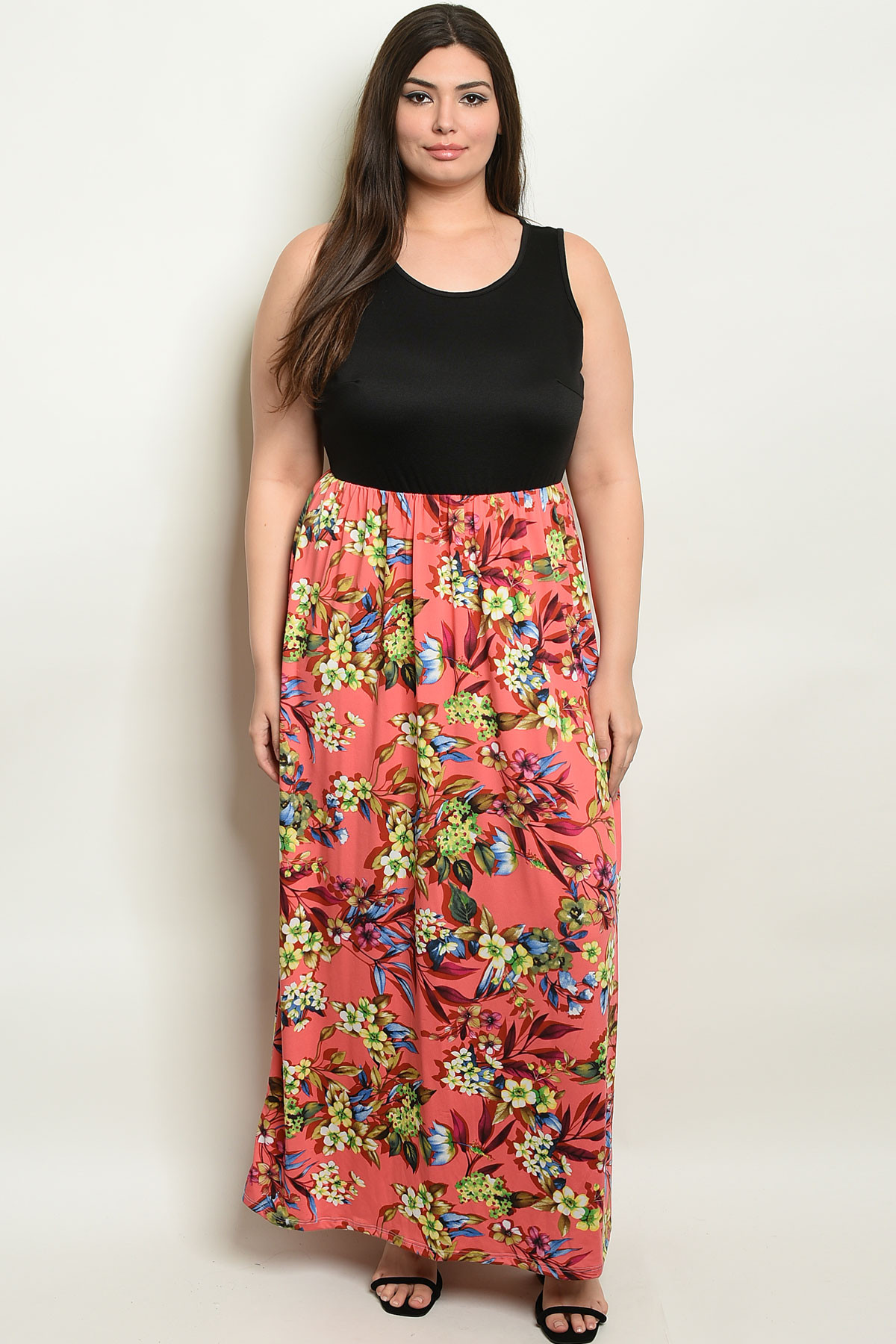 C12-A-1-D7511X BLACK CORAL FLORAL PLUS SIZE DRESS 2-2-2