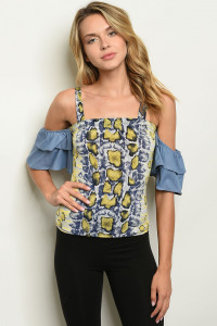 C64-B-3-T3896 YELLOW SNAKE ANIMAL PRINT TOP 2-2-2