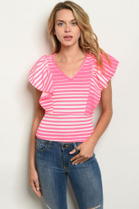 C78-B-7-T3914 NEON PINK STRIPES TOP 2-2-2