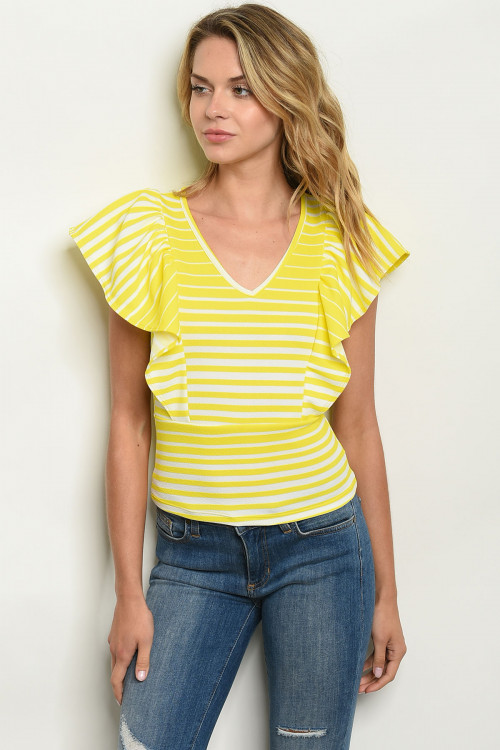 C1-A-T3914 NEON YELLOW STRIPES TOP 2-2-2