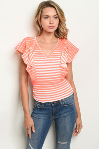 C77-B-1-T3914 NEON CORAL STRIPES TOP 3-2-2