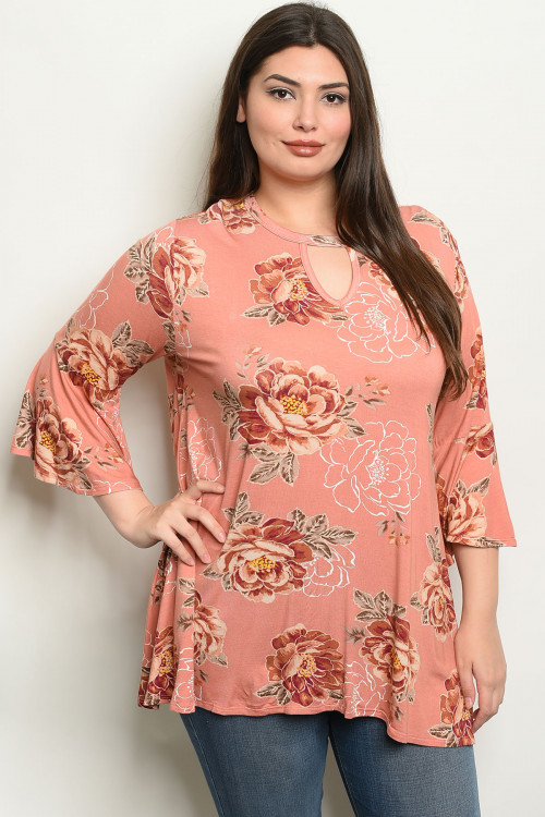 C14-A-2-T1620X SALMON WITH FLOWER PRINT PLUS SIZE TOP 2-2-2