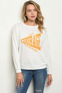 "C58-B-7-S4928 IVORY ""COURAGE"" PRINT SWEATER 2-2-2"
