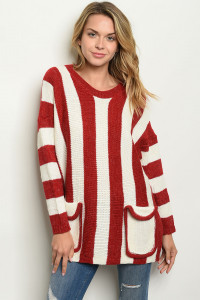 S8-6-4-S3025 RED WHITE SWEATER 6PCS