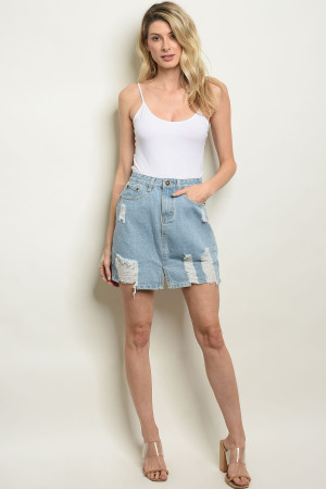 S9-18-1-S1285 BLUE DENIM SKIRT 3PCS
