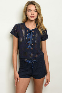 S7-7-4-SET4259 NAVY TOP & SHORT SET 2-3-2