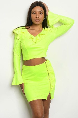 S6-10-1-SET010619 NEON YELLOW TOP & SKIRT SET 2-2-2