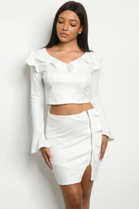 S9-15-1-SET010619 OFF WHITE TOP & SKIRT SET 4-2-2
