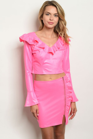 S6-10-1-SET010619 NEON PINK TOP & SKIRT SET 2-2-2