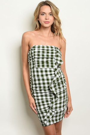 S16-8-4-D17243 GREEN WHITE CHECKERS DRESS 2-2-2