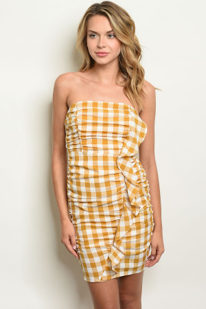 S14-12-1-D17243 MUSTARD WHITE CHECKERS DRESS 2-2-2