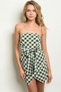 S6-7-2-D17242 WHITE GREEN CHECKERS DRESS 2-2-2